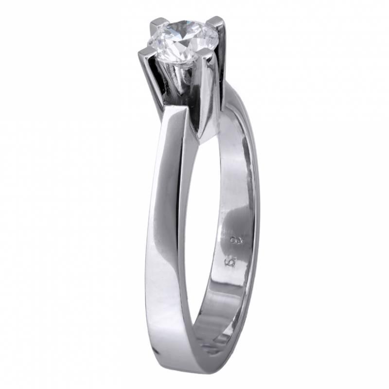 Κλασικό δαχτυλίδι με μπριγιάν Κ18 023763 023763 Χρυσός 18 Καράτια