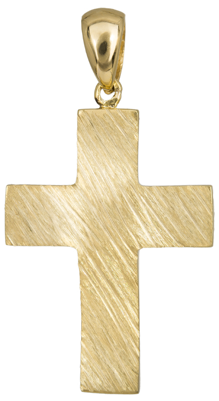 Σταυροί Βάπτισης - Αρραβώνα Ανάγλυφος αντρικός σταυρός Κ14 023483 023483 Ανδρικό Χρυσός 14 Καράτια