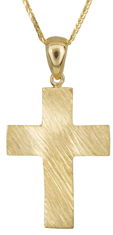 Βαπτιστικοί Σταυροί με Αλυσίδα Χρυσός αντρικός σταυρός Κ14 C023483 023483C Ανδρικό Χρυσός 14 Καράτια