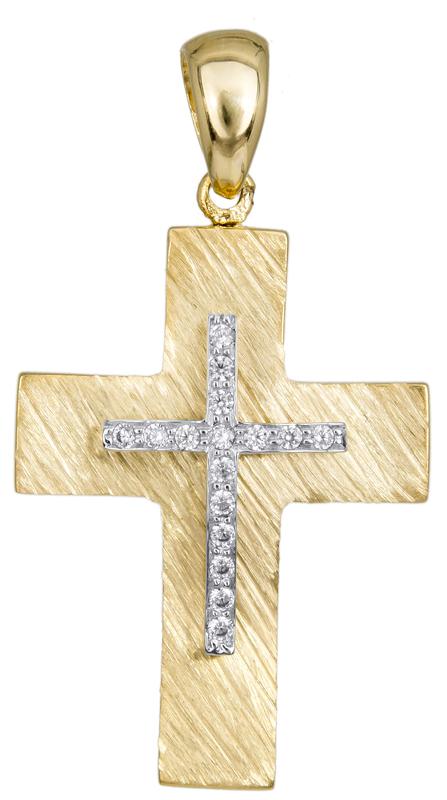 Σταυροί Βάπτισης - Αρραβώνα Γυναικείος σταυρός με ζιργκόν Κ14 023485 023485 Γυναικείο Χρυσός 14 Καράτια