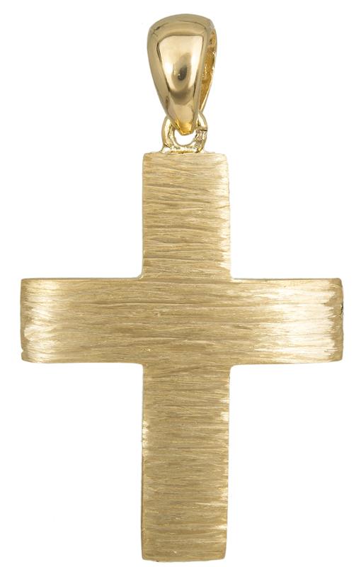 Σταυροί Βάπτισης - Αρραβώνα Ανάγλυφος βαπτιστικός σταυρός Κ14 023486 023486 Ανδρικό Χρυσός 14 Καράτια