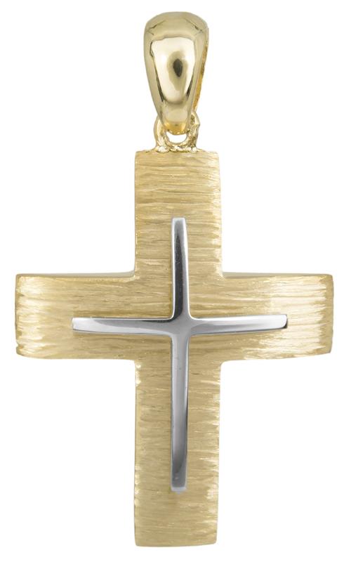 Σταυροί Βάπτισης - Αρραβώνα Δίχρωμος κλασικός σταυρός Κ14 023487 023487 Ανδρικό Χρυσός 14 Καράτια
