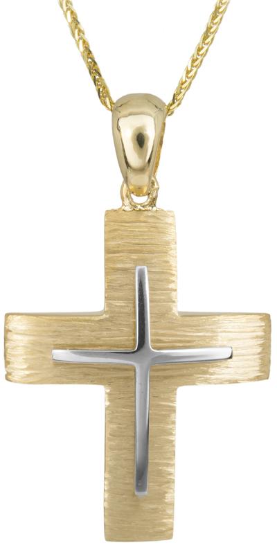 Βαπτιστικοί Σταυροί με Αλυσίδα Αντρικός κλασικός σταυρός με αλυσίδα Κ14 C023487 023487C Ανδρικό Χρυσός 14 Καράτια