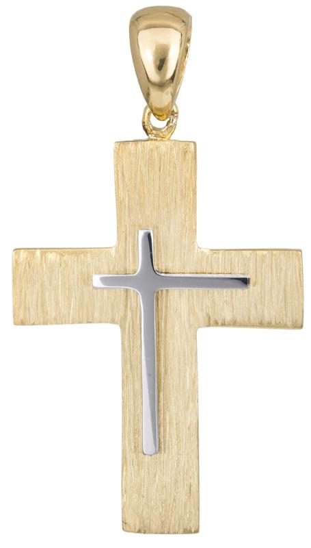 Σταυροί Βάπτισης - Αρραβώνα Χειροποίητος σταυρός βάπτισης Κ14 023489 023489 Ανδρικό Χρυσός 14 Καράτια