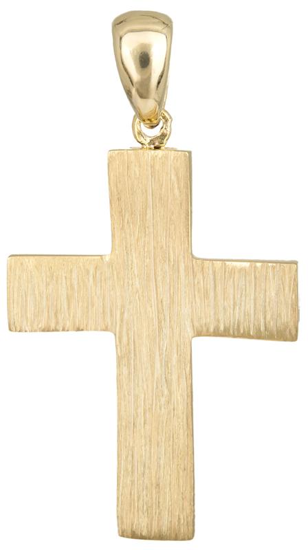 Σταυροί Βάπτισης - Αρραβώνα Αντρικός ανάγλυφος σταυρός Κ14 023490 023490 Ανδρικό Χρυσός 14 Καράτια