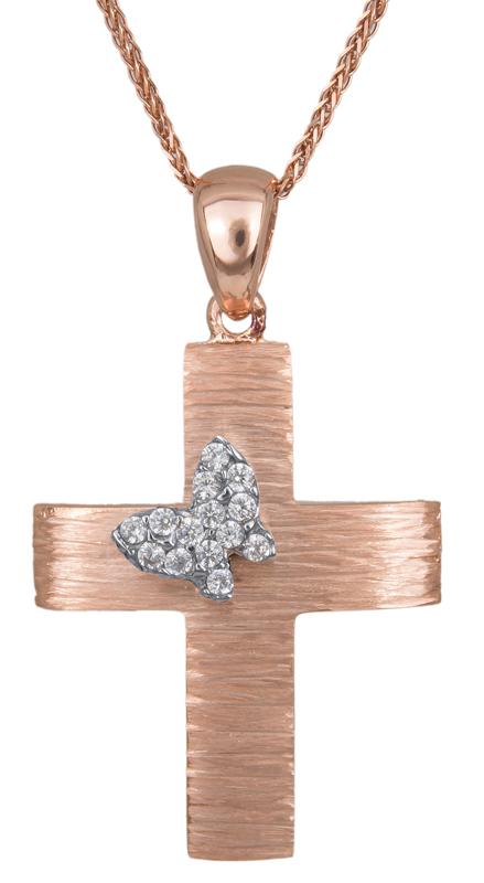 Βαπτιστικοί Σταυροί με Αλυσίδα Ροζ gold σταυρός με πεταλούδα Κ14 C023492 023492C Γυναικείο Χρυσός 14 Καράτια