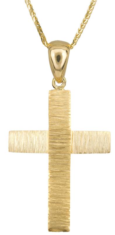 Βαπτιστικοί Σταυροί με Αλυσίδα Αντρικός χρυσός σταυρός Κ14 C023493 023493C Ανδρικό Χρυσός 14 Καράτια
