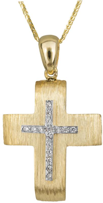 Βαπτιστικοί Σταυροί με Αλυσίδα Γυναικείος σταυρός με αλυσίδα Κ14 C023495 023495C Γυναικείο Χρυσός 14 Καράτια