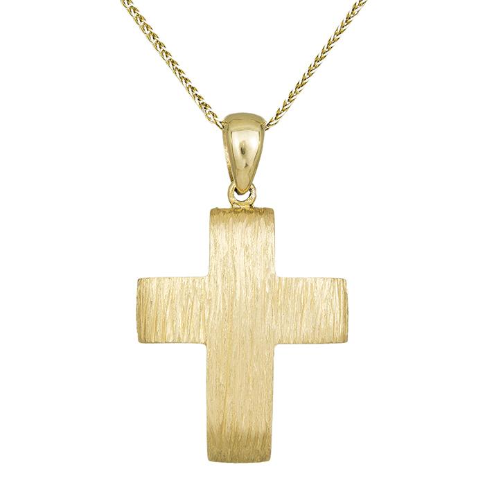 Βαπτιστικοί Σταυροί με Αλυσίδα Αντρικός σταυρός με αλυσίδα 14Κ C023496 023496C Ανδρικό Χρυσός 14 Καράτια