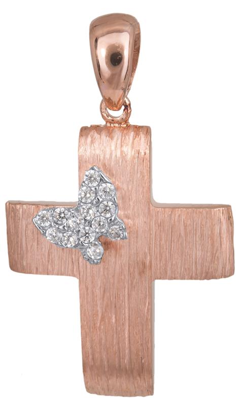 Σταυροί Βάπτισης - Αρραβώνα Βαπτιστικός σταυρός με πεταλούδα Κ14 023497 023497 Γυναικείο Χρυσός 14 Καράτια