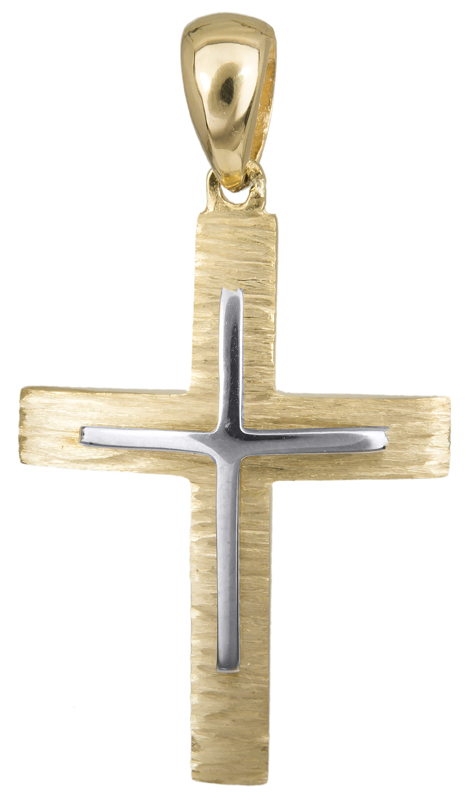 Σταυροί Βάπτισης - Αρραβώνα Δίχρωμος αντρικός σταυρός Κ14 023498 023498 Ανδρικό Χρυσός 14 Καράτια