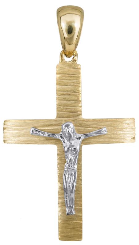 Σταυροί Βάπτισης - Αρραβώνα Αντρικός σταυρός με τον Εσταυρωμένο Κ14 023499 023499 Ανδρικό Χρυσός 14 Καράτια