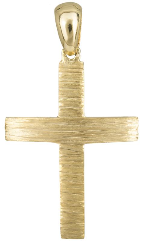 Σταυροί Βάπτισης - Αρραβώνα Χρυσός ανάγλυφος σταυρός Κ14 023501 023501 Ανδρικό Χρυσός 14 Καράτια