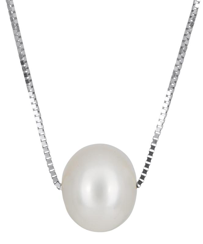 Λευκόχρυσο κολιέ με μαργαριτάρι Κ14 023502 023502 Χρυσός 14 Καράτια