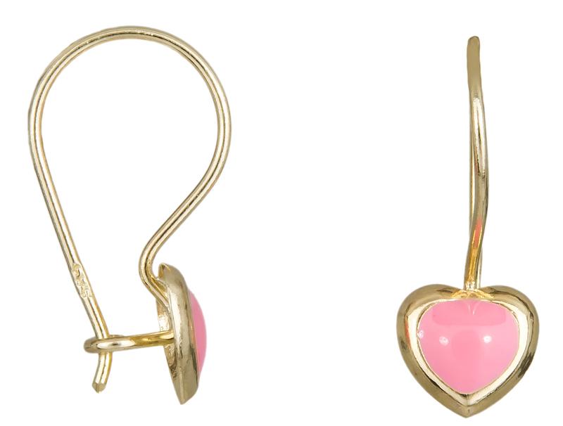 Σκουλαρίκια καρδούλες με σμάλτο Κ14 023514 023514 Χρυσός 14 Καράτια