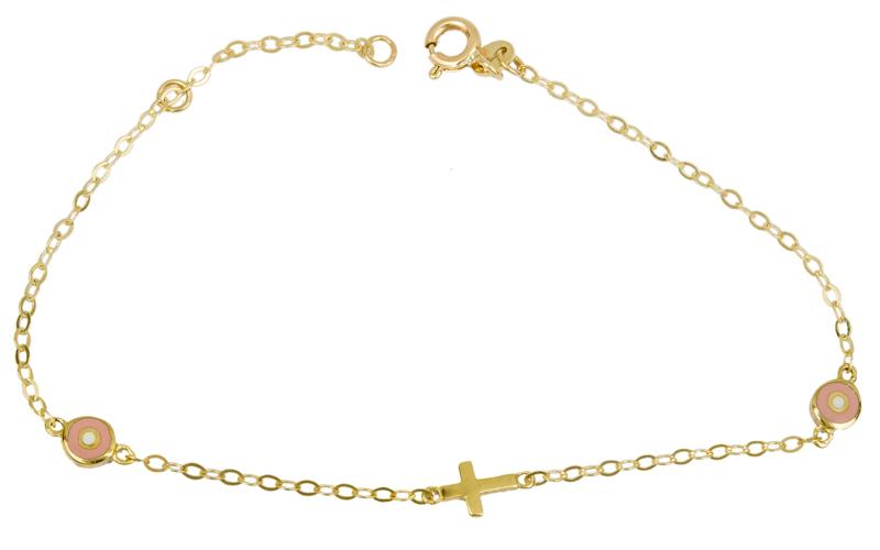 Βραχιόλι με ροζ ματάκια 14Κ 025527 025527 Χρυσός 14 Καράτια