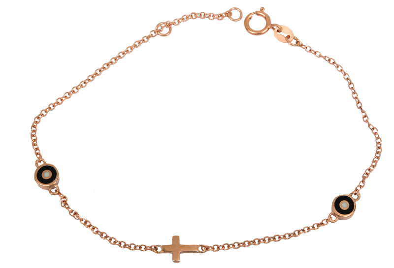 Ροζ gold βραχιόλι με ματάκια 9Κ 023572 023572 Χρυσός 9 Καράτια