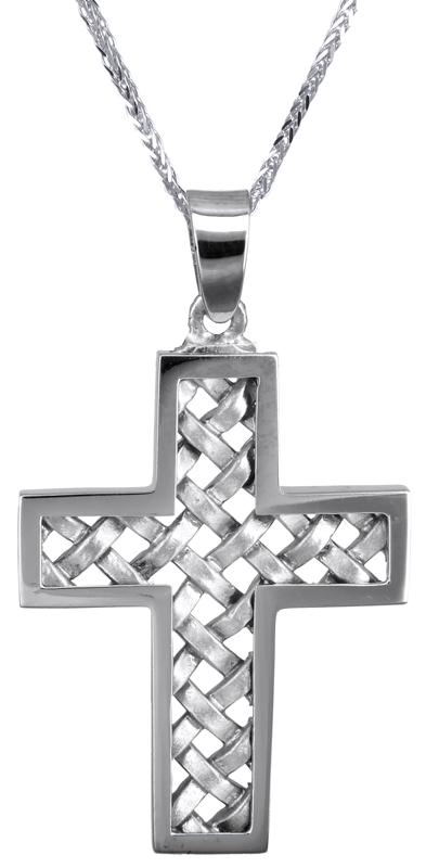 Βαπτιστικοί Σταυροί με Αλυσίδα Αντρικός λευκόχρυσος σταυρός 14Κ C023579 023579C Ανδρικό Χρυσός 14 Καράτια