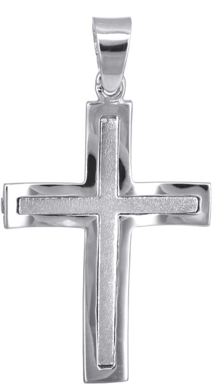 Σταυροί Βάπτισης - Αρραβώνα Λευκόχρυσος αντρικός σταυρός 14Κ 023581 023581 Ανδρικό Χρυσός 14 Καράτια