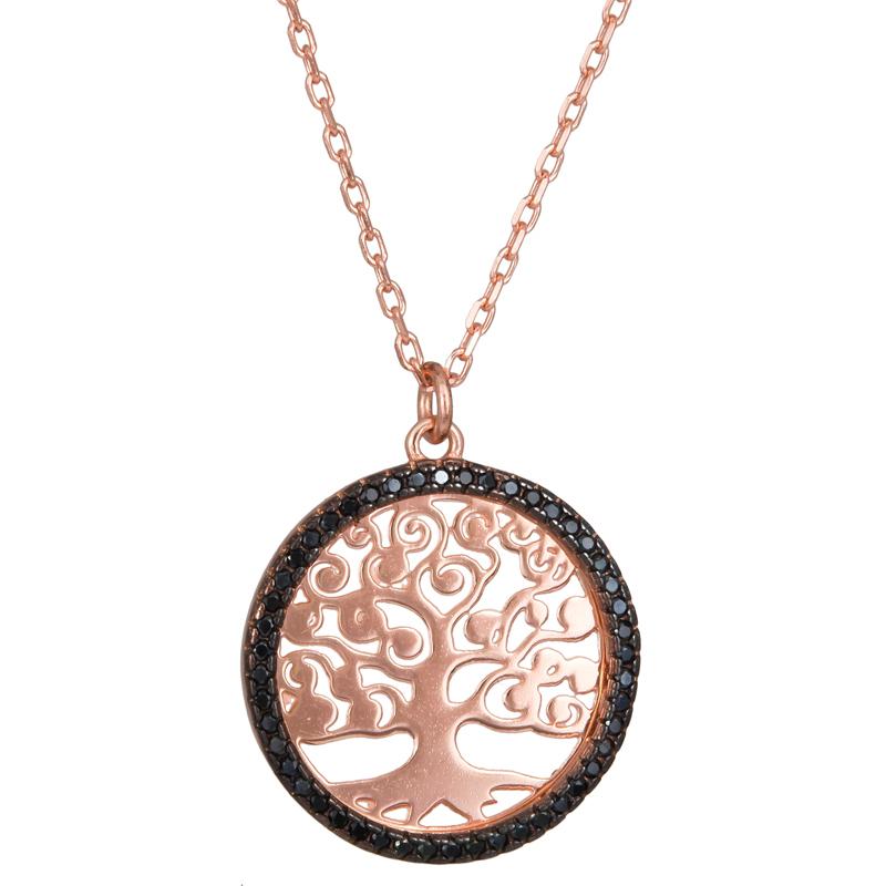 Ροζ κολιέ 925 το Δέντρο της Ζωής 023616 023616 Ασήμι ασημένια κοσμήματα κολιέ