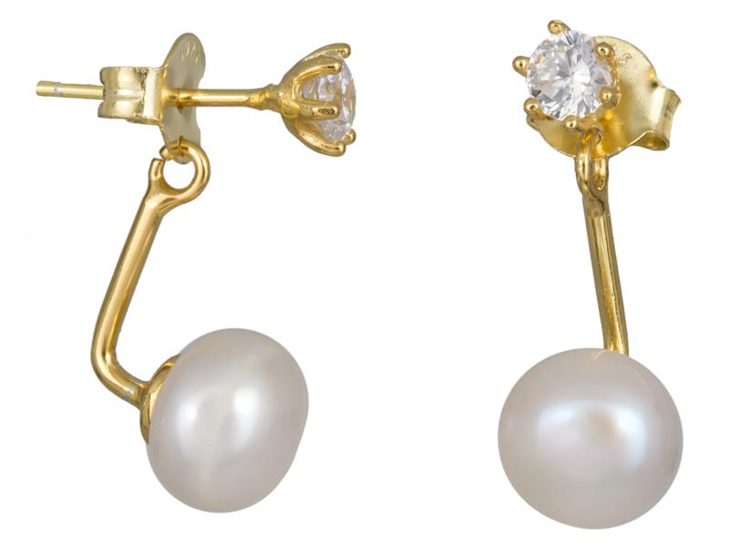 Επίχρυσα σκουλαρίκια με μαργαριτάρι και ζιργκόν 925 023674 023674 Ασήμι