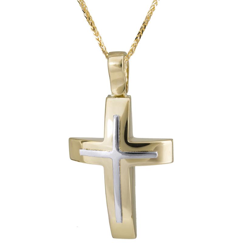 Βαπτιστικοί Σταυροί με Αλυσίδα Χρυσός σταυρός δίχρωμος 14 Κ 023721C 023721C Ανδρικό Χρυσός 14 Καράτια