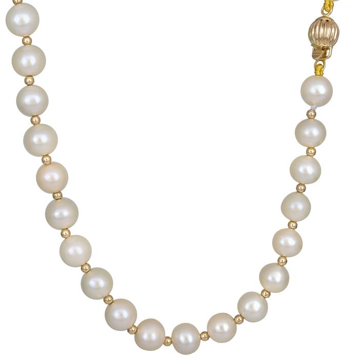 Γυναικείο κολιέ με μαργαριτάρια 14 Κ 023782 023782 Χρυσός 14 Καράτια