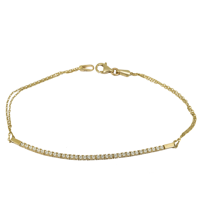 Γυναικείο βραχιόλι ριβιέρα χρυσό 14 Κ με ζιργκόν 023791 023791 Χρυσός 14 Καράτια