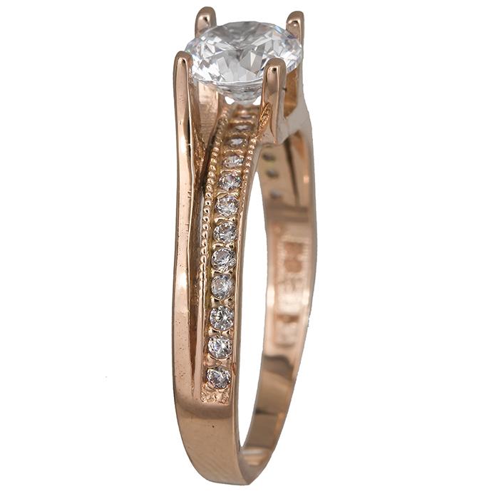 Ροζ χρυσό μονόπετρο δαχτυλίδι με ζιργκόν 14Κ 023822 023822 Χρυσός 14 Καράτια χρυσά κοσμήματα δαχτυλίδια μονόπετρα