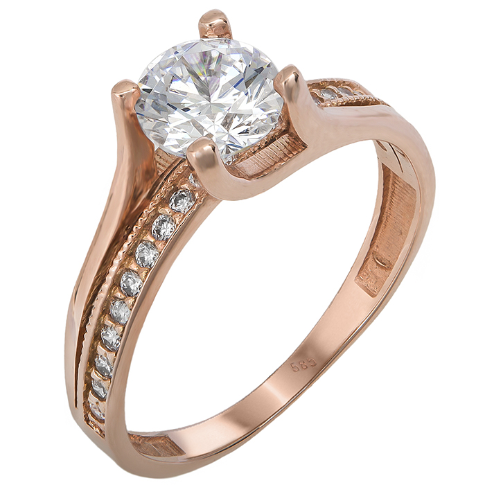 Ροζ χρυσό μονόπετρο δαχτυλίδι με ζιργκόν 14Κ 023822 023822 Χρυσός 14 Καράτια