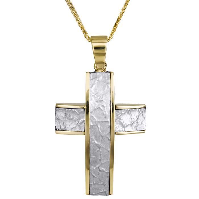 Βαπτιστικοί Σταυροί με Αλυσίδα Ανάγλυφος ανδρικός σταυρός δίχρωμος 14Κ 023823C 023823C Ανδρικό Χρυσός 14 Καράτια
