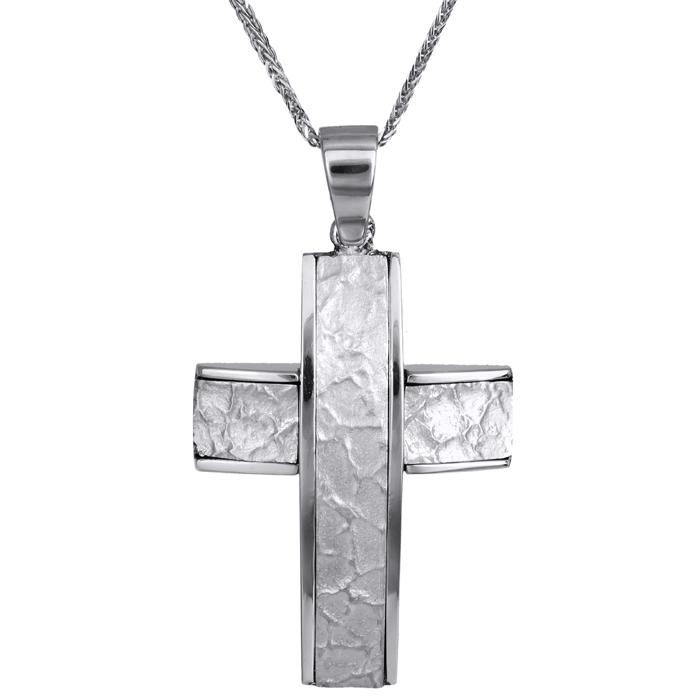 Βαπτιστικοί Σταυροί με Αλυσίδα Ανδρικός σταυρός ανάγλυφος λευκόχρυσος 14Κ με αλυσίδα 023824C 023824C Ανδρικό Χρυσός 14 Καράτια