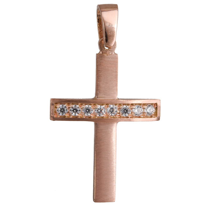 Γυνακείος σταυρός ροζ gold με ζιργκόν K14 023827 023827 Χρυσός 14 Καράτια χρυσά κοσμήματα σταυροί