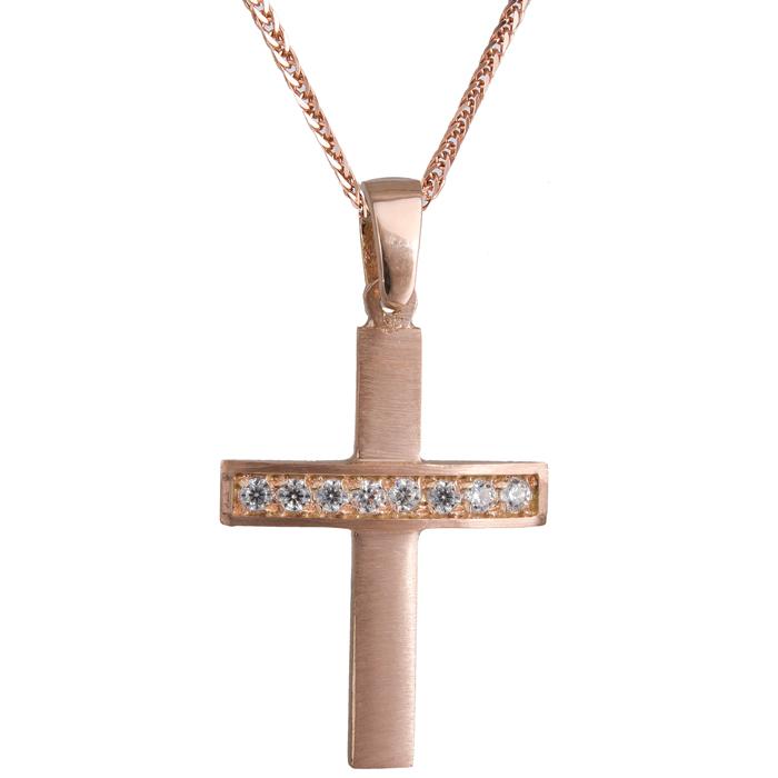 Γυνακείος σταυρός ροζ gold με ζιργκόν K14 023827C 023827C Χρυσός 14 Καράτια χρυσά κοσμήματα σταυροί