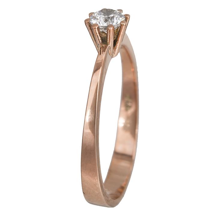 Ροζ χρυσό μονόπετρο δαχτυλίδι με ζιργκόν 14Κ 023829 023829 Χρυσός 14 Καράτια χρυσά κοσμήματα δαχτυλίδια μονόπετρα