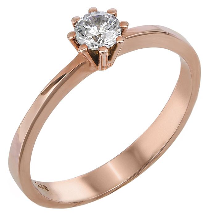 Ροζ χρυσό μονόπετρο δαχτυλίδι με ζιργκόν 14Κ 023829 023829 Χρυσός 14 Καράτια