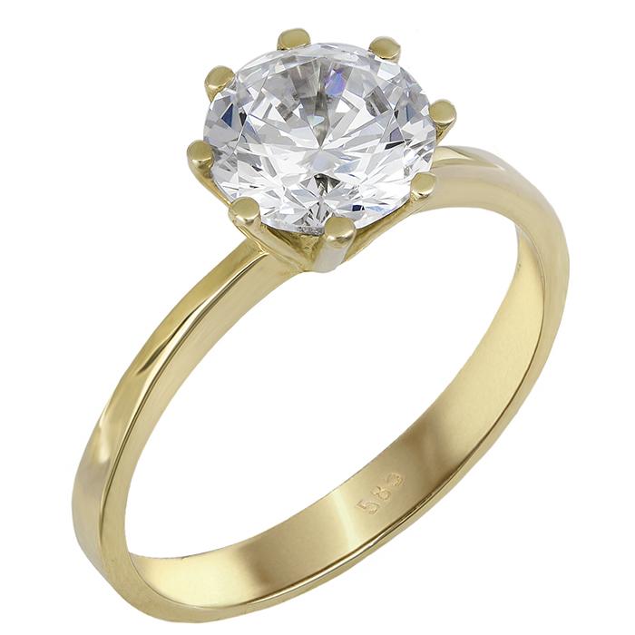 Μονόπετρο δαχτυλίδι με ζιργκόν χρυσό 14Κ 023830 023830 Χρυσός 14 Καράτια χρυσά κοσμήματα δαχτυλίδια μονόπετρα