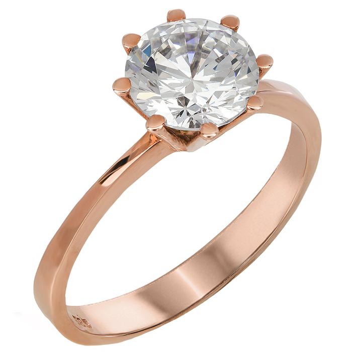 Ροζ gold μονόπετρο δαχτυλίδι με ζιργκόν 14Κ 023831 023831 Χρυσός 14 Καράτια