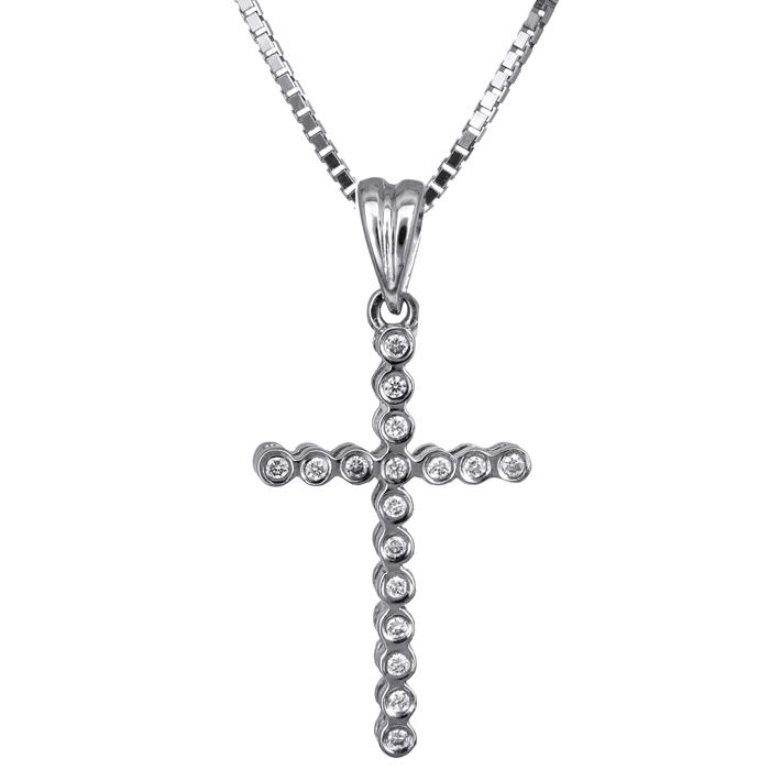 Βαπτιστικοί Σταυροί με Αλυσίδα Γυναικείος σταυρός λευκόχρυσος με διαμάντια Κ18 023835C 023835C Γυναικείο Χρυσός 18 Καράτια