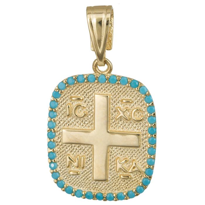 Κωνσταντινάτο πετράτο τυρκουάζ 14Κ 023848 023848 Χρυσός 14 Καράτια