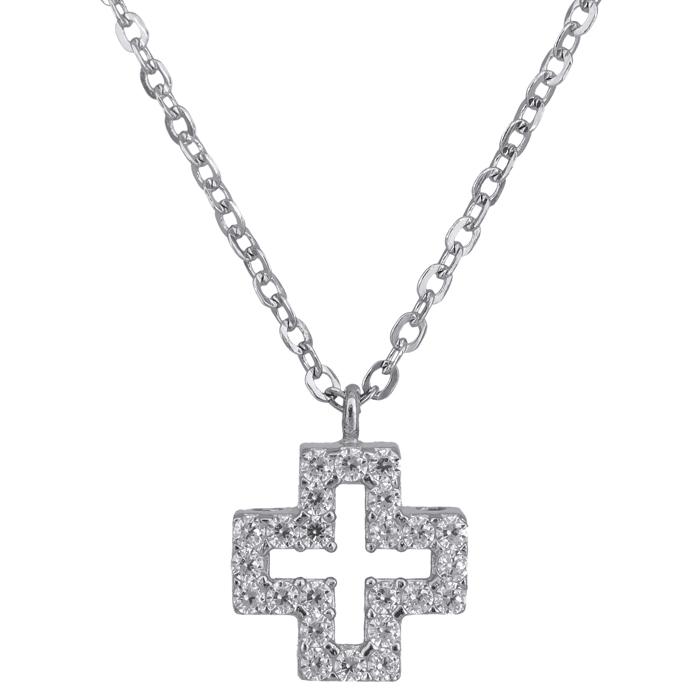 Λευκόχρυσο κολιέ με σταυρό 14Κ 023866 023866 Χρυσός 14 Καράτια