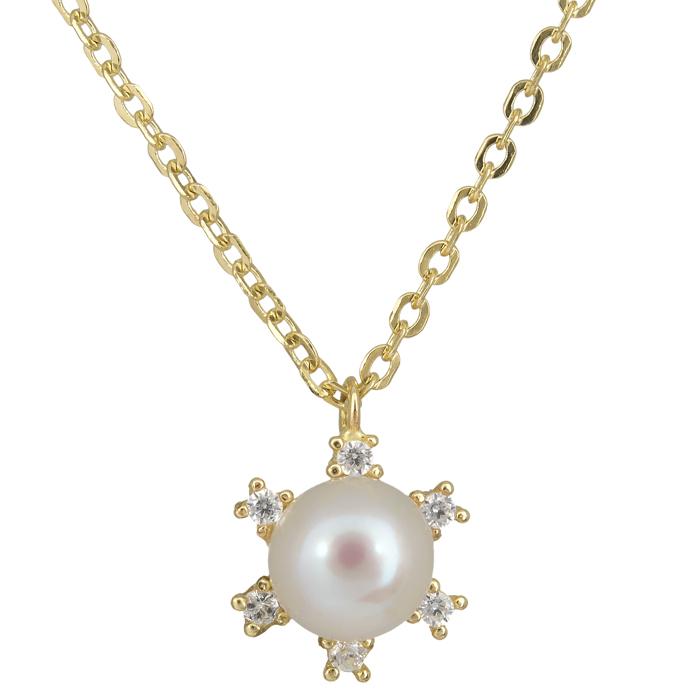 Χρυσό κολιέ με μαργαριτάρι ροζέτα εξάπετρη 14 Κ 023876 023876 Χρυσός 14 Καράτια
