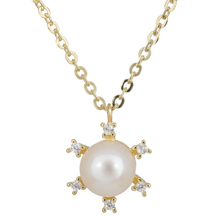 Κολιέ με μαργαριτάρι σε ροζέτα εξάπετρη χρυσό 14 Κ 023878 023878 Χρυσός 14 Καράτια