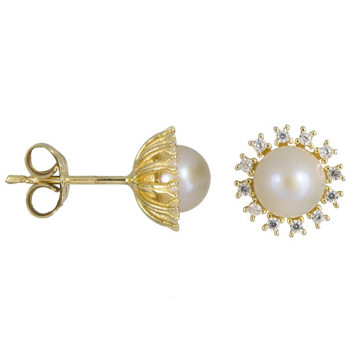 Χρυσά σκουλαρίκια με μαργαριτάρια ροζέτα 14 Κ 023886 023886 Χρυσός 14 Καράτια