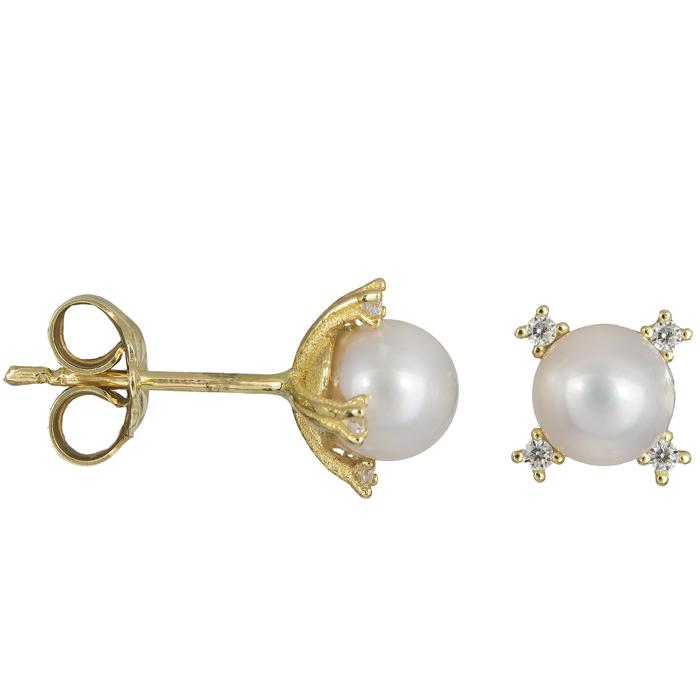 Χρυσά σκουλαρίκια με μαργαριτάρια ροζέτα τετράπετρη 14Κ 023888 023888 Χρυσός 14 Καράτια