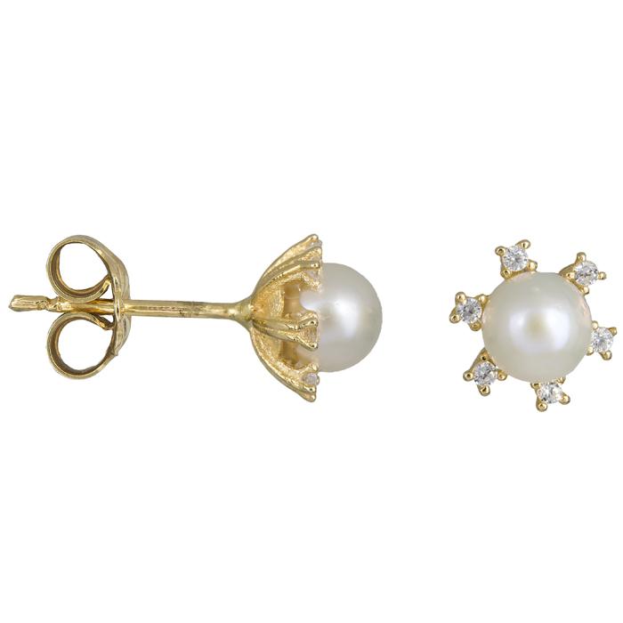 Χρυσά σκουλαρίκια με μαργαριτάρι ροζέτα εξάπετρη 14Κ 023891 023891 Χρυσός 14 Καράτια