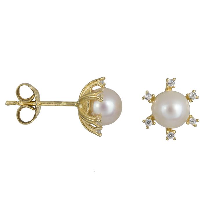 Σκουλαρίκια χρυσά με μαργαριτάρι ροζέτα εξάπετρη 14Κ 023893 023893 Χρυσός 14 Καράτια