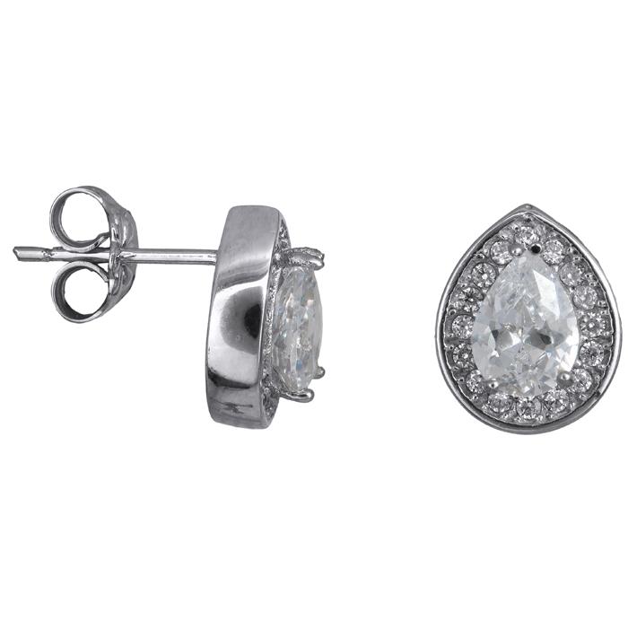Λευκόχρυσα σκουλαρίκια σταγόνες με ζιργκόν Κ14 023895 023895 Χρυσός 14 Καράτια