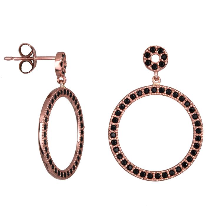 Ροζ gold σκουλαρίκια κύκλοι με ζιργκόν Κ14 023896 023896 Χρυσός 14 Καράτια