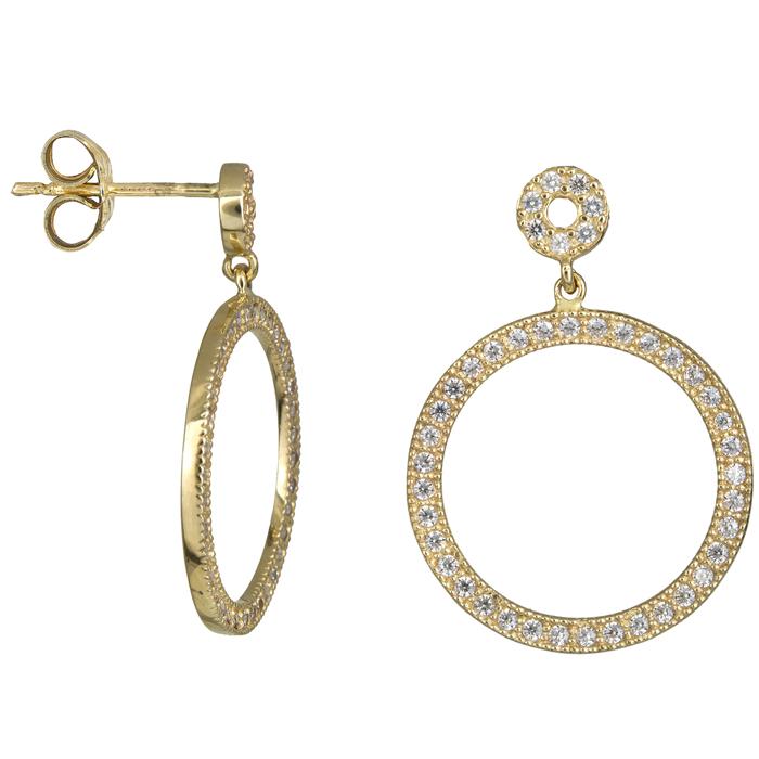 Χρυσά σκουλαρίκια κύκλοι με ζιργκόν Κ14 023897 023897 Χρυσός 14 Καράτια